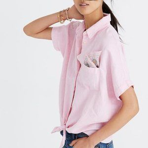 Madewell Button Down Tie Front Short Sleeve Top
